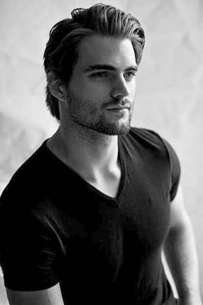 Hairstyles For Medium Length Hair Smiling Man In Black T Shirt Stubble Beard And Mustache Dark Hai Mens Hairstyles Medium Mens Hairstyles Medium Hair Styles