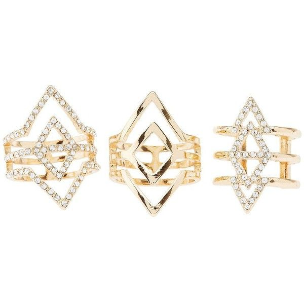 Charlotte Russe Caged Rhinestone Rings - 3 Pack ($6) ❤ liked on Polyvore featuring jewelry, rings, gold, triangle jewelry, rhinestone jewelry, charlotte russe jewelry, stackable rings и stackers jewelry