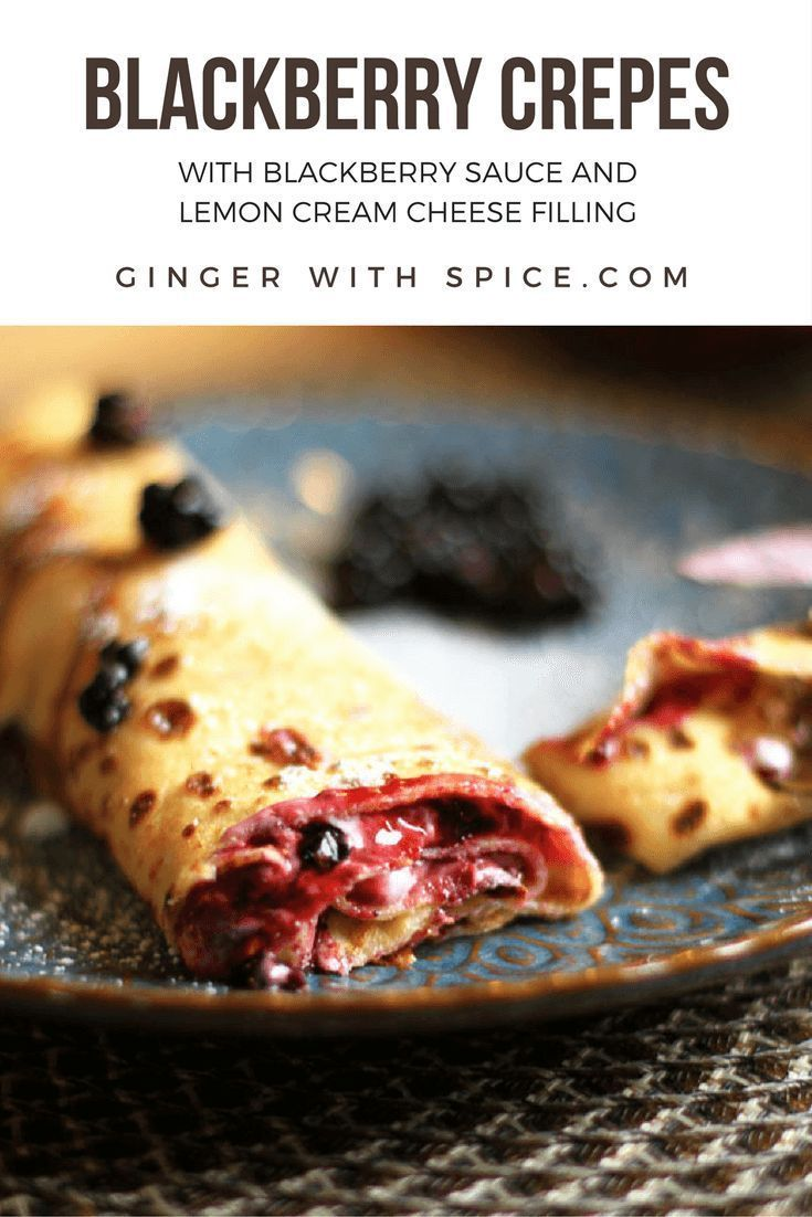 Crispy, buttery crepes with a tangy lemon cream cheese and sweet blackberry jam. Lemon and blackberry are best friends, and when the crepes came along - it became a party. Click to find the recipe!