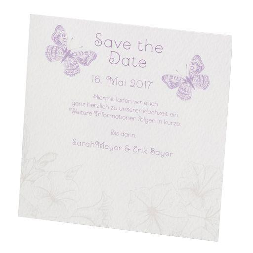 Save-the-Date-Karte mit Schmetterlingen in creme, flieder