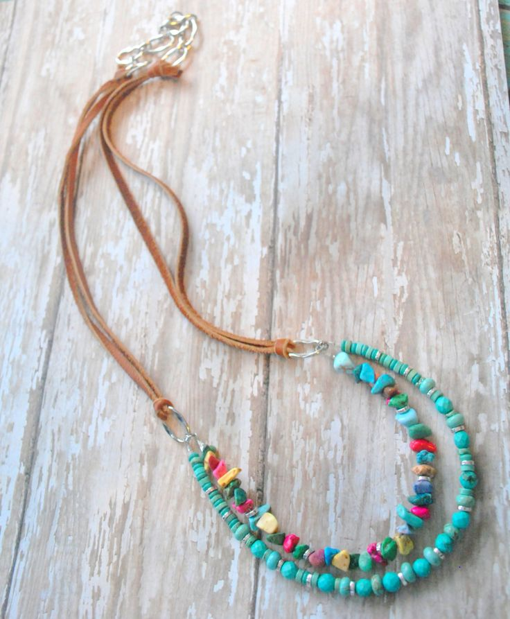 Native American Inspired Turquoise and Leather por Cheshujewelry