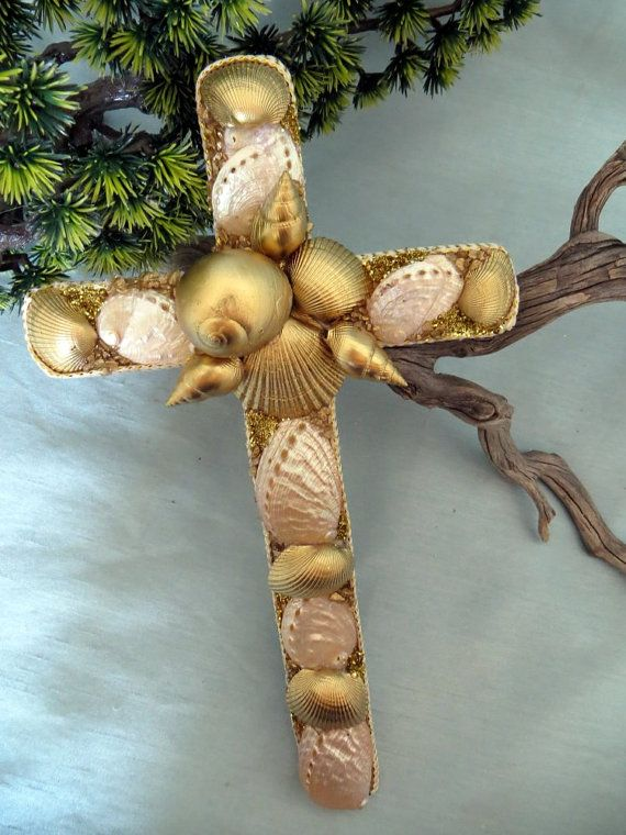 The golden sea shell Decor Cross by CarmelasCoastalCraft on Etsy
