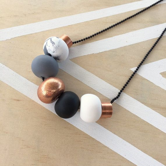 """Polymer clay bead necklace. Marble, copper, grey, black, white and copper metal beads! """"the bella"""" 7 beads"""