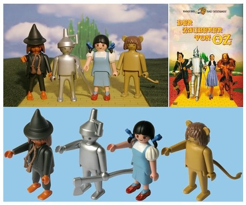 scarecrow, tin man, dorothy & the lion [the wizard of oz; link to series of customized playmobil toys]