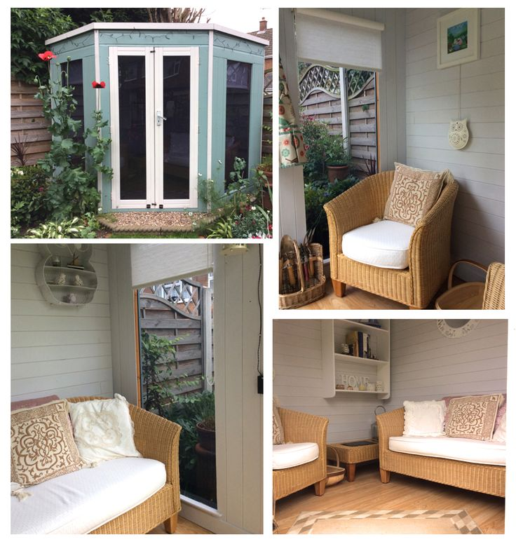 Corner summerhouse perfect for smaller spaces. This is a summerhouse which has been painted and decorated by our customer Alsion. #MyWaltons