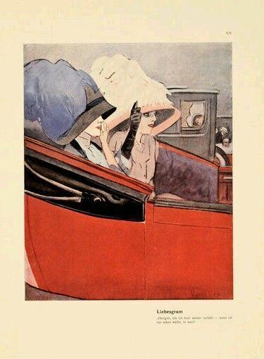DUDOVICH:1910 - FROM ★ ALBUM CORSO ★ -Donne auto epoca LIBERTY / ART NOUVEAU   e