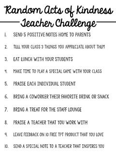 Random Acts of Kindness TEACHER CHALLENGE (Miss 5th)