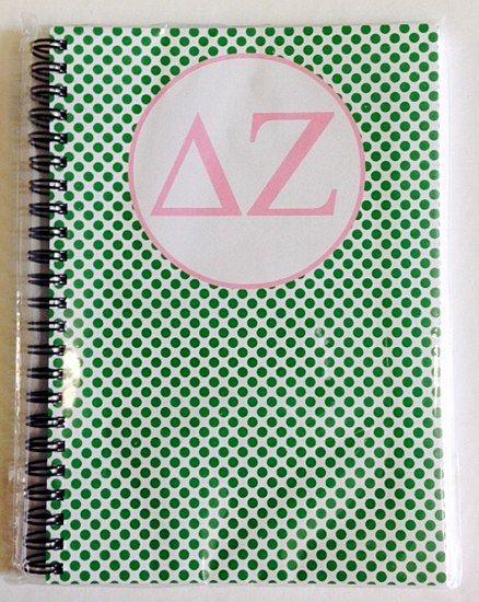 Delta Zeta (DZ) Sorority Letters Spiral Notebook: $22.00. Great Greek Gift.