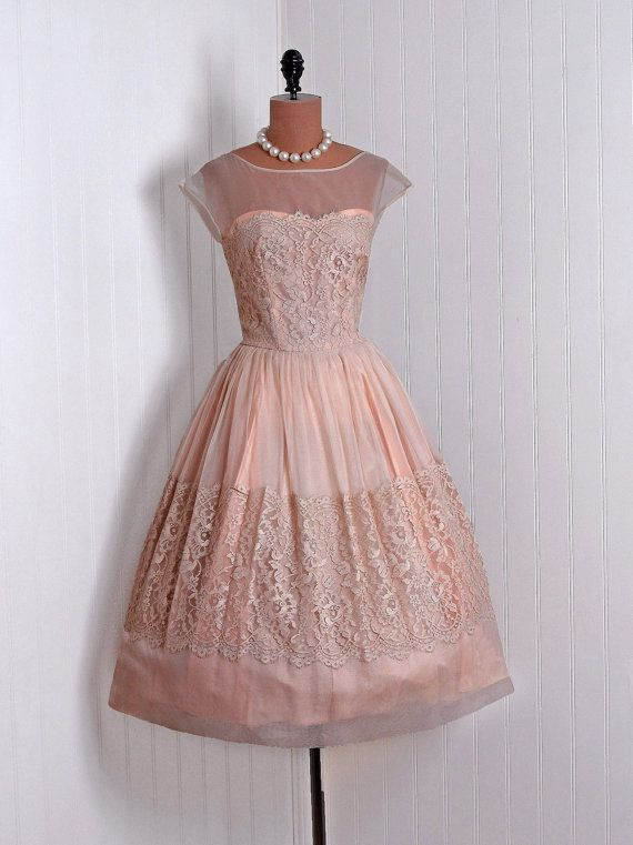 wish I was young, I would get this. 1950's Vintage Champagne-Peach Chiffon and Lace-Couture Sweetheart Low-Plunge Illusion Ballerina-Cupcake Rockabilly Circle-Skirt Party Dress