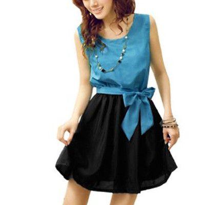 Women Summer Elastic Waist Sleeveless Casual Loose Mini Dress Cyan Black L