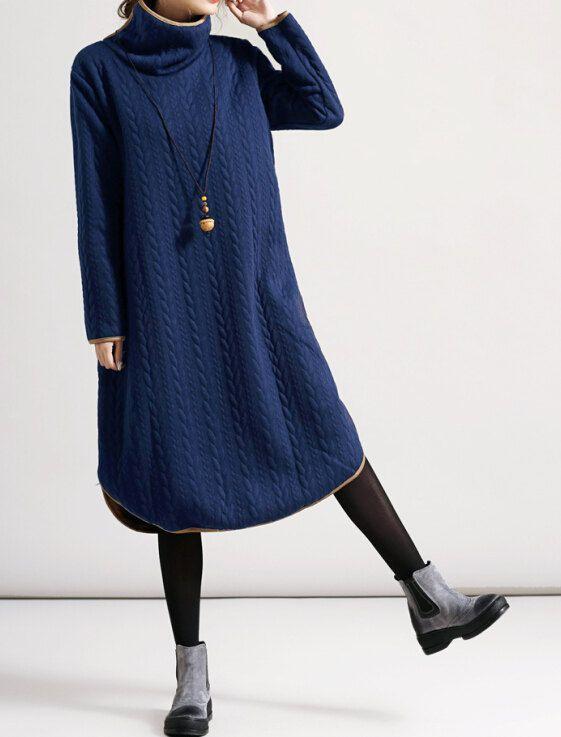 Cotton Leisure high collar long large size dress in black/ red/ khaki/ blue