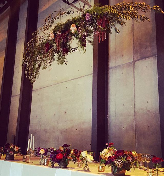Our bridal table florals and hanging installation for a Spring wedding reception at Carriageworks.