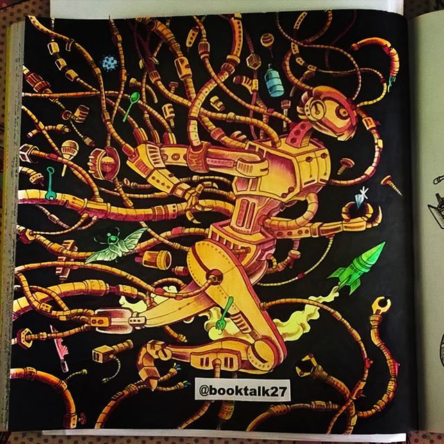 Mechanical Art Doodle Coloring Books Adult My Robot The Run In A World Prismacolor 3