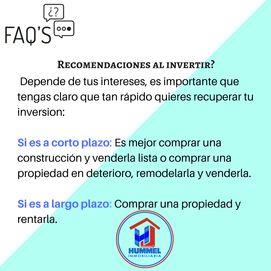 El invertir depende de tus intereses, es importante que tengas claro que tan rapido quieres recuperar tu inversion- Si es a corto plazo- Es mejor comprar una construcción y venderla lis