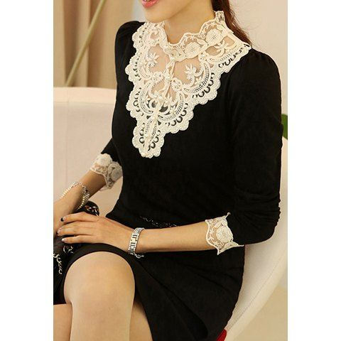 Long Sleeves Stand Collar Lace Embroidered Stitching Nail Bead Beam Waist Ladylike Women's T-Shirt