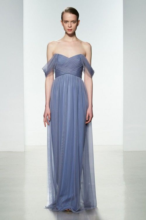 Long Bridesmaid Dress: Tulle, Also comes in navy and the dark burgundy you liked (as well as other colors). This is the full length version of the grey one pinned earlier.