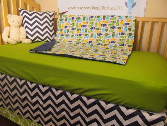 Custom Owls Baby Bedding - Blanket, Sheet and Crib Skirt in Lime, Navy, Aqua and Owls