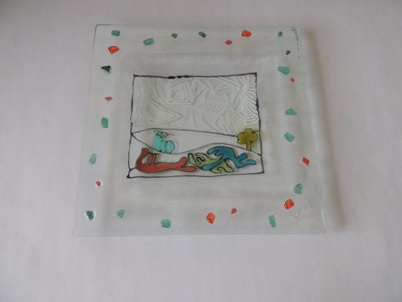 hand painted fused glass plate glass plate by Homeforglasslovers, $20.00