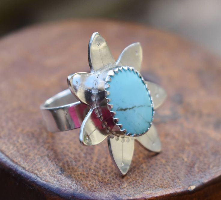 Sterling silver and natural turquoise stone flower ring-boho jewellery-turquoise ring-womens ring-natural turquoise-campitos mine-floral by MixedMetalJewellery on Etsy