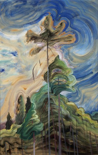"""Sunshine and Tumult,"" Emily Carr, ca. 1935, oil on paper, 34 1/4 x 20 1/4"", Art Gallery of Hamilton."