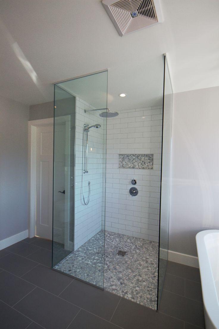 zero transition tiled glass shower