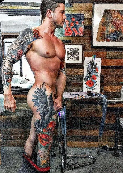 Man with tattos having sex
