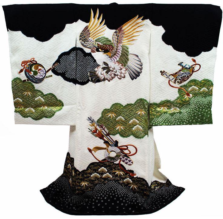 Kimono 着物 / 男児 白地・鷹柄・ 鹿の子絞り / 宮参り 七五三