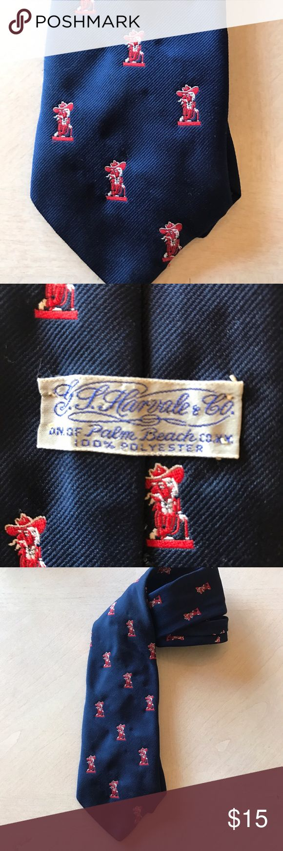 Ole Miss Rebel vintage mens tie made in Palm Beach Ole Miss Rebel vintage men's tie made in Palm Beach ole miss Accessories Ties