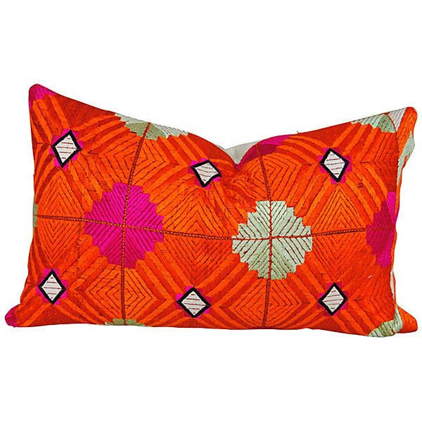 Pre-Owned Orange Indian Phulkari Bagh Pillow ($389) ❤ liked on Polyvore featuring home, home decor, throw pillows, india home decor, indian home decor, tangerine throw pillows, orange home decor and orange accent pillows