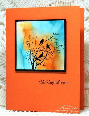 handmade card from Stamping with Klass: Autumn Sunset ... luv the colors and technique used for the sky ... Serene Silouettes ... Stampin' Up!