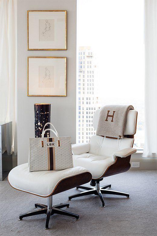 Lee Kleinhelter Atlanta home, bedroom, Eames lounge chair, Hermes avalon throw, Goyard bag