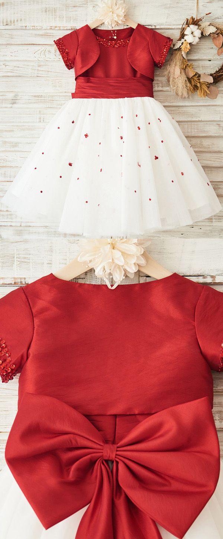 Charming Tulle & Taffeta Scoop Neckline Tea-length Ball Gown Flower Girl Dresses With Beadings & Detachable Coat