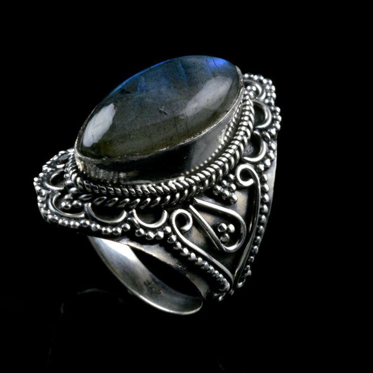 925 Sterling Silver Natural Labradorite Gemstone Handmade Mens Ring Size 8.5 US #Handmade #Cluster #Party