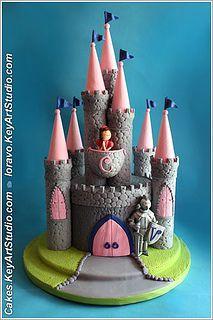 Castle cake with knight and princess by Cakes.KeyArtStudio.com, via Flickr