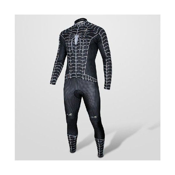2013 Hot Black Spider-man Costume Cycling Long Sleeve Jersey+Pants Suit - Ecyclingmall.com