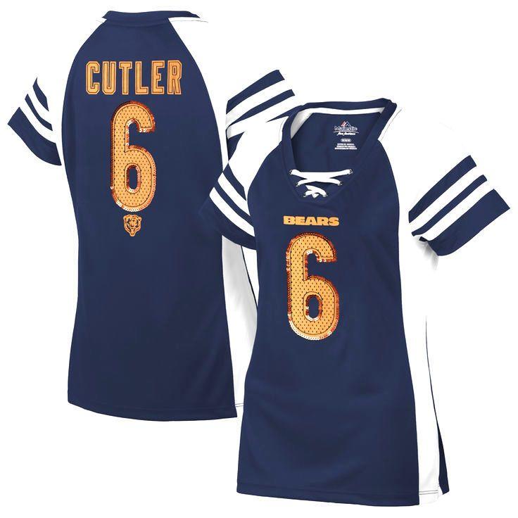 Jay Cutler Chicago Bears Majestic Women's Draft Him IV T-Shirt – Navy Blue - $47.49