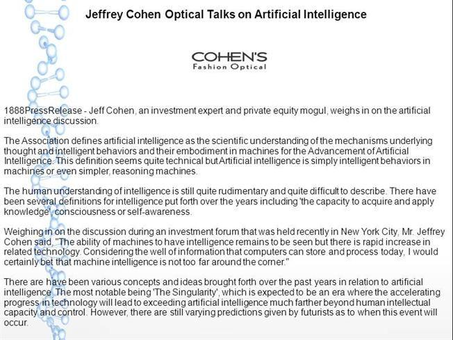 Jeffrey Cohen Optical Talks on Artificial Intelligence by donaldhood via authorSTREAM