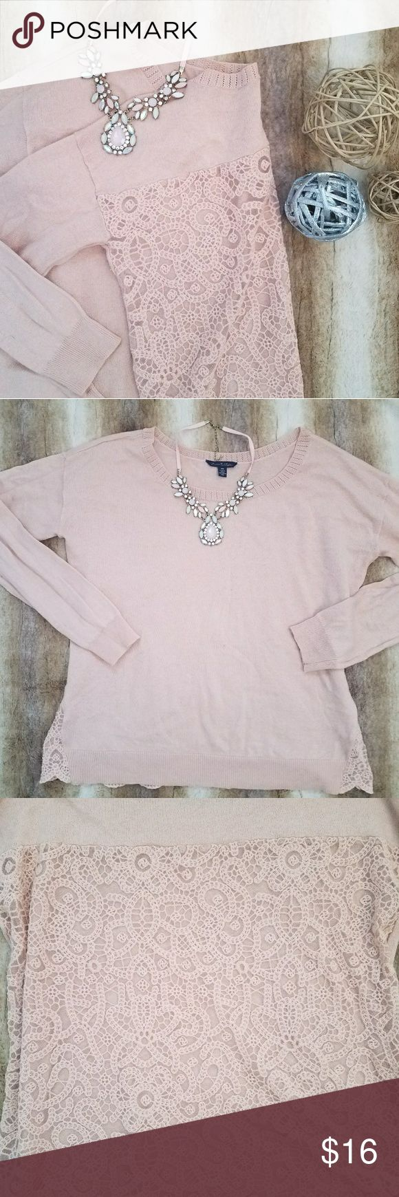 1 day sale American Eagle lace back sweater Adorable pale pink lace back sweater by American Eagle Outfitters.  Worn once. Had a small hole in the sleeve when purchased that has been repaired as shown in the last picture. In great condition. American Eagle Outfitters Tops