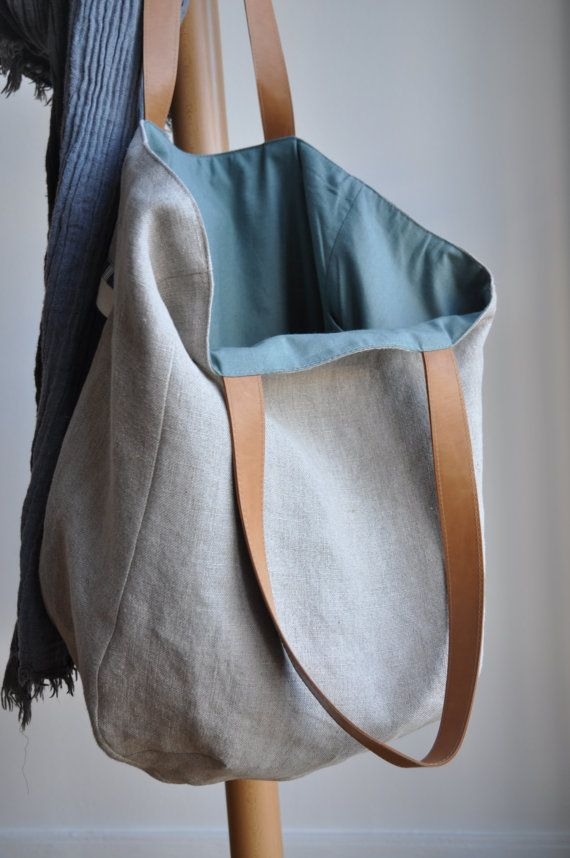 ON SALE Patchwork linen bag with leather por bybetweenthelines