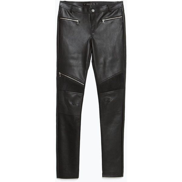 Zara Biker Trousers (2.555 RUB) ❤ liked on Polyvore featuring pants, trousers, bottoms, jeans, black, black trousers, zara trousers, black pants, zara pants and bike pants