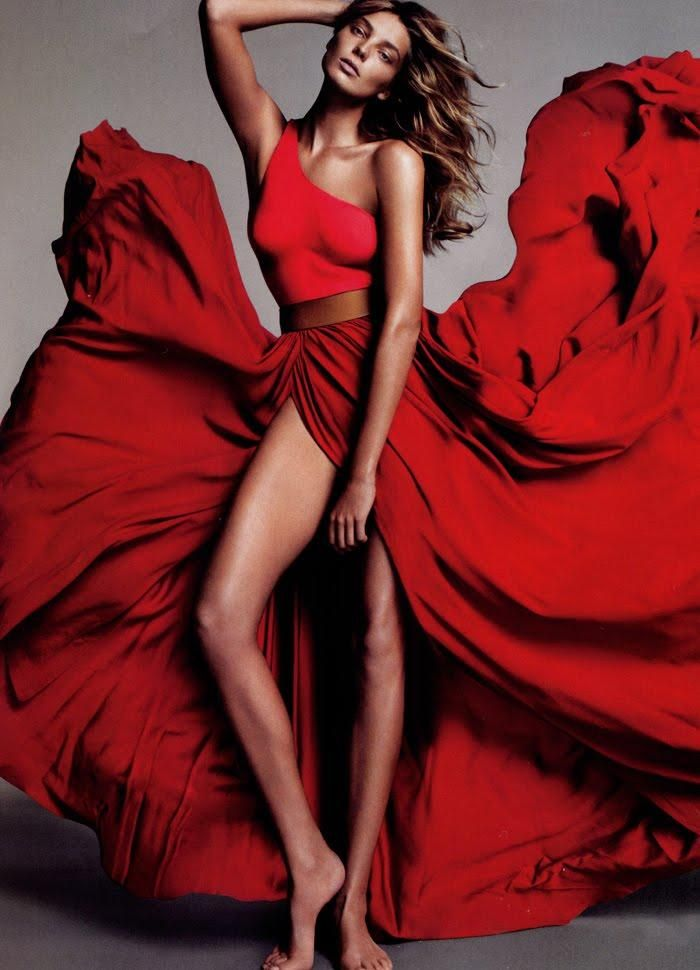 red dress daria werbowy for american vogue shot by alas + piggott