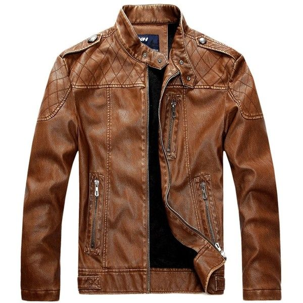 Chouyatou Men's Vintage Stand Collar Pu Leather Jacket ($59) ❤ liked on Polyvore featuring men's fashion, men's clothing, men's outerwear, men's jackets, mens vintage jacket, mens pleather jacket, mens outerwear and mens jackets