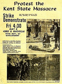 A sample flyer from May 1970 urging student demonstrations following Kent State shootings.