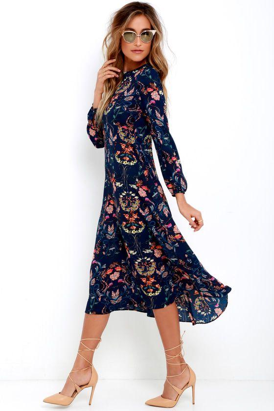 7e8a5ea43e58 I. Madeline Garden Splendor Navy Blue Floral Print Dress 10