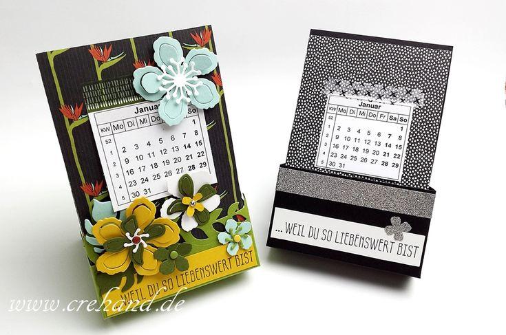 crehand Kalender in der Box Tischaufsteller Botanical Blooms Modische Muster Stampin Up 2016