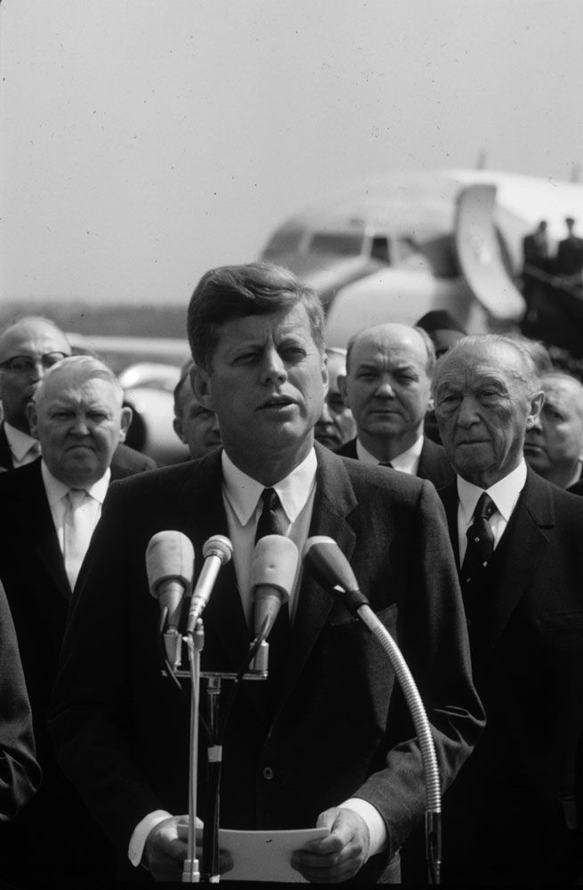 President John F. Kennedy in Cologne, Germany, June 1963  Read more: JFK in Germany: Photos From President Kennedy's 1963 European Tour | LIFE.com http://life.time.com/history/jfk-in-germany-1963-photos-from-kennedys-ich-bin-ein-berliner-tour/#ixzz3JBuFnGu0