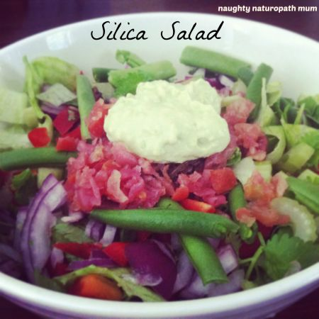 Silica Salad with Creamy Avo Dressing - Naughty Naturopath Mum