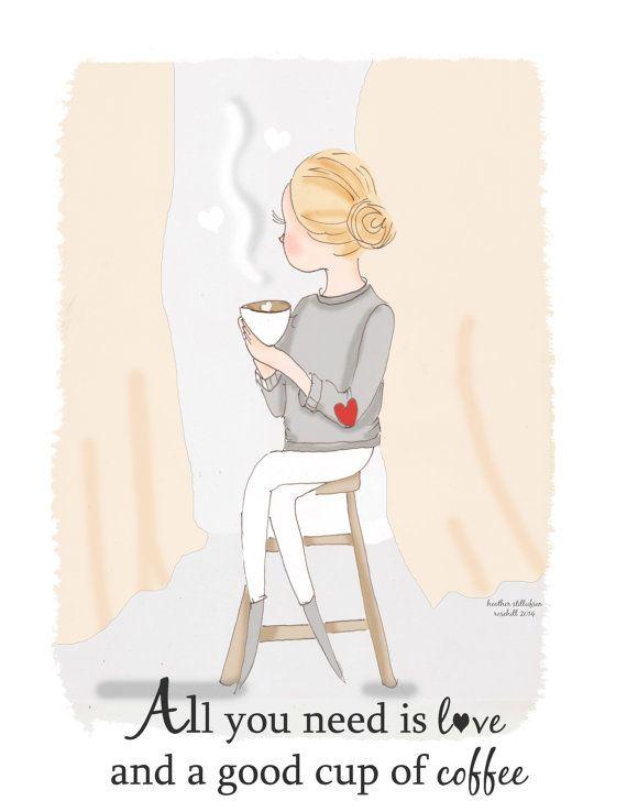 Coffee Lover  Kitchen Art  Art for Women  by RoseHillDesignStudio, $20.00