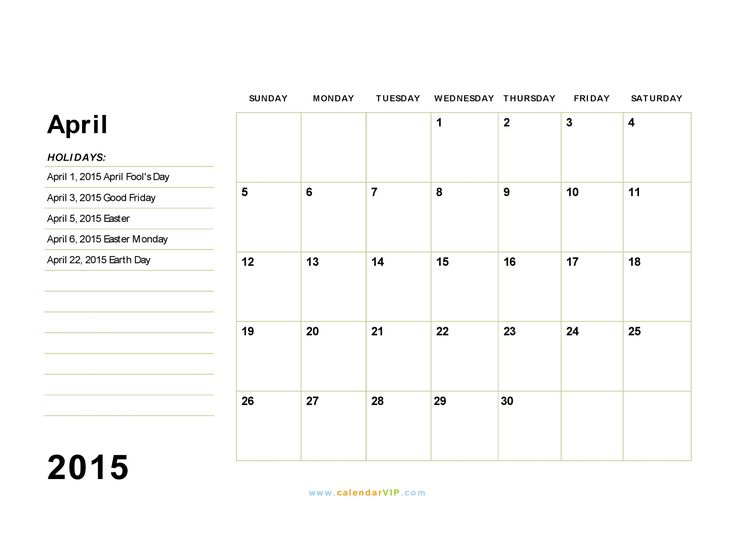 Download April 2015 Calendar With Holidays and its Images. Check more about 2015 April Calendar Printable Template, Excel, Pdf, Word, Vertex and many more.