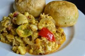 Ackee and Saltfish with fried dumplings